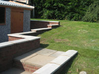 Rear garden steps brickwork and concrete garage